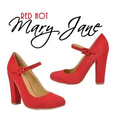 RED HOT~ Mary Jane Pump! @ www.FABrebel.com #pump #maryjane #shoes #bold #red #powerpump #trendy #fashion #stylishshoes #summer2015 #iloveshoes #fashionfinds #fabrebel