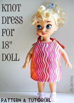 "Me Sew Crazy: 18"" Doll Knot Dress {Pattern & Tutorial}..."