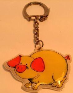 Vintage Keychain BIG HAPPY YELLOW PIG ! Ancien Porte-Cles COCHON JAUNE HEUREUX !