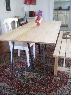 Vika Lerberg tressle legs from Ikea $10. Paired with a time worn, butcher block top may be just the industrial french country farm table I am looking for.