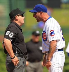 Cubs manager Dale Sveum takes out some of his frustrations on an umpire. (Phil Velasquez/Chicago Tribune / June 11, 2012)
