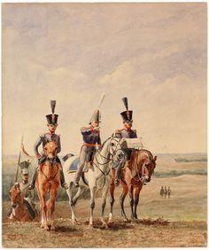 Generaal en officieren van de Generale Staf met escorterende lansier tijdens een manoeuvre