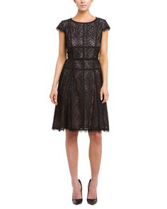 Adrianna Papell Black Lace Converging Banded Dress is on Rue. Shop it now.