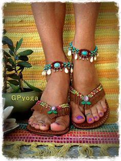 WOODLAND Brown flip flops US size 7-8 Leather Fringe by GPyoga