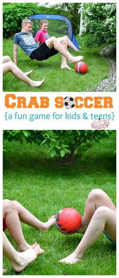 Crab Soccer – A Fun Soccer Game for Kids and Teens Crab soccer is a hilarious soccer game for kids and teens to play at birthday parties, family outings, youth group and more. Play outdoors or indoors. Outdoor Games For Teenagers, Indoor Games For Kids, Games For Teens, Adult Games, Family Outdoor Games, Indoor Group Games, Outside Games For Kids, Fun Youth Group Games, Soccer Games For Kids