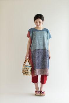 """Rectangle"" Dress Dots and Stripes Chizimi Cotton : SOU • SOU US Online Store"