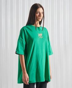 Oversized Long Sleeve Shirt, Oversized Tee, Long Sleeve Shirts, Streetwear, Leggings, Tee Shirts, Tees, Green Cotton, Superdry
