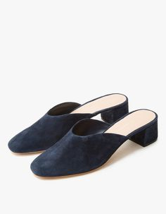 From Loeffler Randall, a square toe mule in Eclipse. Padded footbed. Leather lining. Matching suede-covered block heel. Rubber cap.   • Leather upper • Leather sole • Women's sizes listed