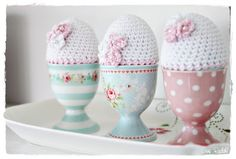 stunning #greengate #eggcups with #shabby cosies