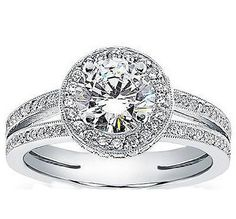 0.75 Ct Round Cut Halo Split Shank Diamond Engagement Ring 14k White Gold #Handmade #SolitairewithAccents