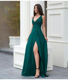 A line green prom dress with side slit Long prom dress long prom dress satin prom dress 4244 V Neck Prom Dresses, Gala Dresses, Dress Outfits, Evening Dresses, Fashion Dresses, Sexy Dresses, Summer Dresses, Wedding Dresses, Casual Dresses