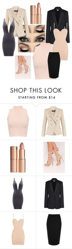 """Nudes"" by sally-a-chapman ❤ liked on Polyvore featuring WearAll, Balmain, Charlotte Tilbury, Missguided, STELLA McCARTNEY, Wolford and River Island"