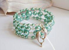 Dolphin bracelet beach jewelry seafoam wrap by beachseacrafts, $14.00