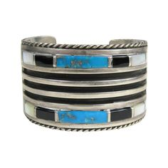 Zuni Sterling Silver Turquoise Onyx Cuff Bracelet | From a unique collection of vintage cuff bracelets at https://www.1stdibs.com/jewelry/bracelets/cuff-bracelets/