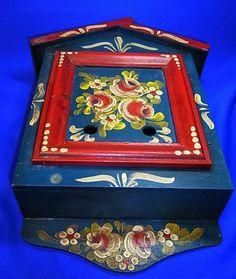 Vintage German Folk Art Tramp Art Handpainted Wood Wall Shelf Letter Box #