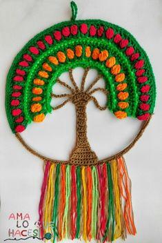 mandala arbol de la vida Crochet Mandala, Crochet Doilies, Crochet Stitches, Crochet Patterns, Crochet Wall Art, Crochet Wall Hangings, Free Crochet, Knit Crochet, Mandala Coloring