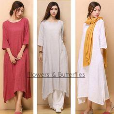 WORLDWIDE FREE SHIPPING Women Linen Dress 5 Colors Summer dress pure color Long…
