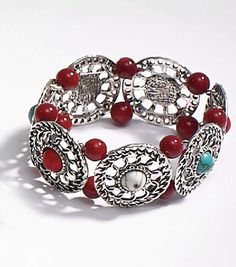 Coral and Metal Round Slider Bracelet