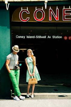 vintage coney island photo shoot - love the clothes & backgrounds
