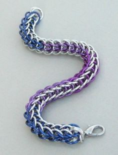 Blue, purple, violet, #chainmaille ombre color fade full Persian anodized aluminum bracelet