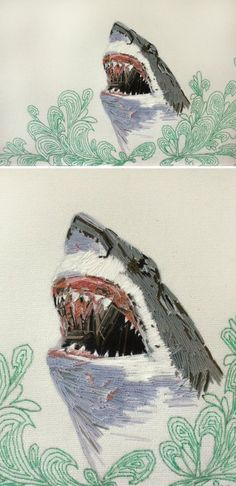 Stephanie K. Clark - embroidered shark  SHARK WEEK