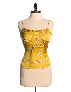 American Eagle Outfitters Print Yellow Tank Top - Size XS