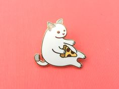 """I know that feel, little pizza cat. Black cat available here. THE NITTY GRITTY ✎ One 1-inch (25mm) hard enamel pin, made from my original illustration ✎ Shiny gold metal ✎ One rubber pin back ✎ """"OH PL"""