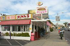 Pink's Hot Dogs is a Restaurant in Los Angeles. Plan your road trip to Pink's Hot Dogs in CA with Roadtrippers. Hot Dogs, Hot Dog Restaurants, Hot Dog Stand, Chili Dogs, I Love La, California Love, Hotel California, Hollywood California, West Hollywood