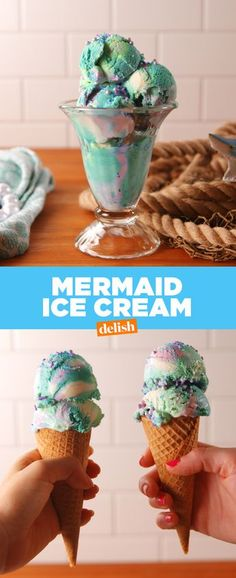 Mermaid Ice Cream: 3 c. heavy cream, 1 can sweetened condensed milk, - sweets - Frozen Desserts, Frozen Treats, Just Desserts, Dessert Recipes, Awesome Desserts, Delicious Desserts, Superfood, Purple Food Coloring, Healthy Blueberry Muffins