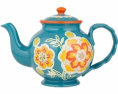 This Dutch Teal Gold Teapot features a popular shade of teal along with a striking gold floral motif.  To add color to your table any time of year, this is the perfect teapot.  Made of handcrafted ceramics. Microwave and Dishwasher Safe. 5 Cup Capacity.