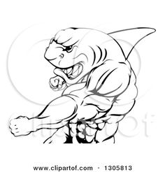 1305813-Clipart-Of-A-Black-And-White-Mad-Muscular-Shark-Man-Mascot-Punching-Royalty-Free-Vector-Illustration.jpg 450×470 pixels