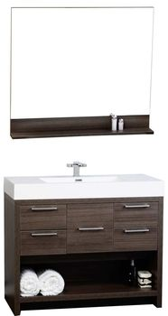 40 modern bathroom vanity mirror set in grey oak finish tnl1000go