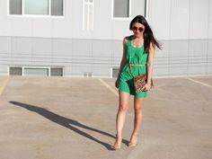 Green silk dress, leopard clutch, nude belt, nude heels