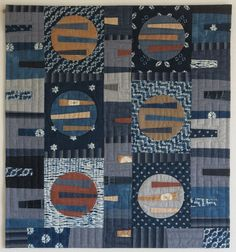 Combining Indigo shibori fabrics with commercial fabrics. Quilt by Luna Love…