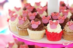 Today's cupcakes, courtesy of user andithinkistru, feature cute mini cupcakes in a variety of flavors, all topped off with a cute pink mini mouse stamped on top. Very pink, very cute!