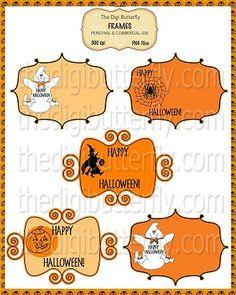 Halloween Haunt Frame Set #halloween #clipart #labels Halloween Clipart, Halloween Crafts, Digital Invitations, Digital Scrapbooking, Photo Art, Clip Art, Printables, Frame, Prints