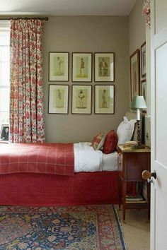 Red and Beige Bedroom - Architectural merit, local craftsmanship and a dream location make for the perfect country house - bedrooms on HOUSE by House & Garden