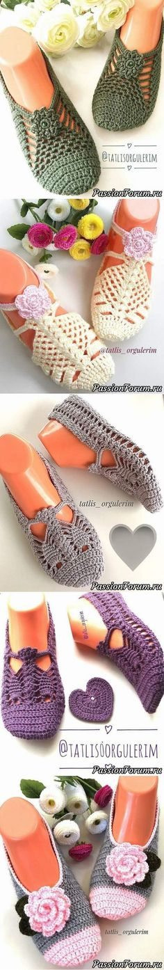 Find and save knitting and crochet schemas, simple recipes, and other ideas collected with love. Crochet Gloves Pattern, Knitted Slippers, Crochet Slippers, Crochet Motif, Crochet Stitches, Crochet Art, Knitting Patterns, Crochet Sandals, Loafers