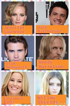 If you have any suggestions like Harry Potter or Percy Jackson anything like that leave a comment! Katniss Everdeen: Jennifer Lawrence Peeta Mellark: Josh Hutcherson Gale Hawthorne: Liam Hemsworth Haymitch Abernathy: Woody Harrelson Effie: Elizabeth Banks and last but not least Primrose Everdeen: Willow Shields!