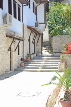 Tiny streets of historical Berat, Albania.