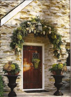 Gorgeous front door and decor!  LOVE greens and browns with silver!!