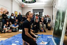 Séra performance paints during the Creation and Post-Memory conference at Columbia University, Apr. 10, 2013. (Pete Pin - Season of Cambodia)