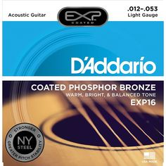 D'Addario EXP16 with NY Steel Phosphor Bronze Acoustic Guitar Strings, Coated, Light, 12-53         ** Read more reviews of the product by visiting the link on the image. (This is an affiliate link) #MusicalInstruments