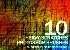 Photoshop Scratches Brushes  Awesome PShop brush resource for grunge, worn-out, weathered looks.