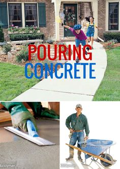 Get articles on pouring concrete from estimating the order to mixing and getting a perfect finish. Concrete Bricks, Poured Concrete, Concrete Floors, Cement, Concrete Projects, Outdoor Projects, Home Projects, Home Upgrades, Home Repairs