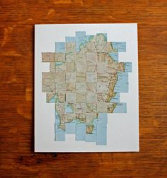 Australia Map Altered Paper Art Wall Art by yinsteadofi on Etsy, $20.00