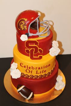 USC Celebration of Life Cake. Cake is completely edible including all accents on the cake @sweetbeas sbcustomcakes@yahoo.com