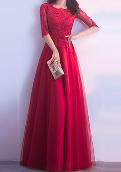 Wine Red Patchwork Lace Grenadine Round Neck Elbow Sleeve Maxi Dress - Maxi Dresses - Dresses The Effective Pictures We Offer You About REd dress info Formal Dresses With Sleeves, Lace Dress With Sleeves, Modest Dresses, Maxi Dresses, Dress Formal, Hijab Evening Dress, Long Gown Dress, Evening Dresses, Dress Prom