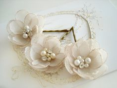 SALE Champagne Bridal Flower Hair Clips Hair Piece by MBrides