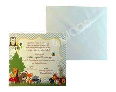"""Προσκλητήριο βάπτισης για αγόρι με θέμα  """"ζωάκια του δάσους"""". Αποτελείται απο δύο μέρη. Ματ χαρτί με τα αγαπημένα μας ζωάκια  και λευκό φάκελο Cover, Books, Libros, Book, Book Illustrations, Libri"""